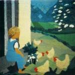 Mikkel og hønsene - vævet billedtæppe af billedkunstner Birgitte Nielsen