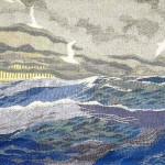 Himmel og hav - vævet billedtæppe af billedkunstner Birgitte Nielsen