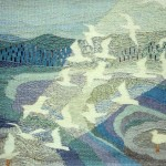 Hav, lys og måger - vævet billedtæppe af billedkunstner Birgitte Nielsen