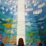 Jesus viser fragmenter af skabelsen - vævet billedtæppe af billedkunstner Birgitte Nielsen