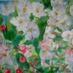 paradiæbleblomster, akvarel af kunstmaler Birgitte NIelsen