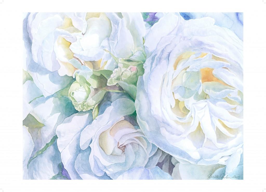 Roser akvarel af kunstmaler Birgitte Nielsen - plakat str. 70x50 cm